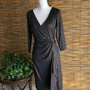 Black and gold knit faux wrap dress